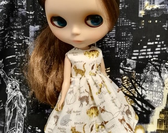 Blythe Doll Outfit Cat print dress