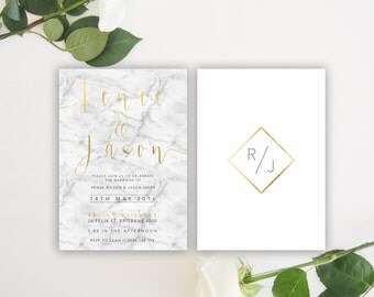 Black White Gold Marble   Wedding Event Invitation Suite   Printable Digital File Printed Invite Invitations Stationery