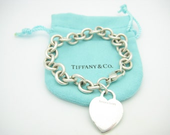 "Tiffany & Co. Sterling Silver Heart Tag Bracelet 7 1/2"" with Pouch"