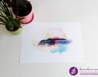 watercolor print, abstract watercolor modern art, watercolor skyline, clouds watercolor print, clouds nursery, watercolor abstract landscape