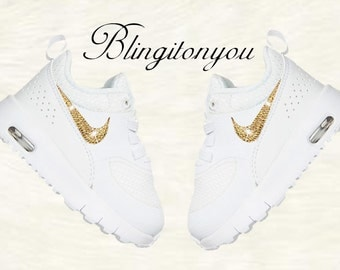 New! Swarovski Nike Toddler Air Max Thea White Shoes Blinged out with Gold Swarovski Crystal Rhinestones | Nike Toddler Bling Shoes | Nikes!