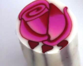Polymer Clay cane, Flower Cane , millefiori Cane , Unbaked cane , Polymer Cane, Pink Rose bud cane