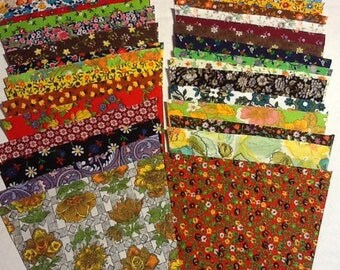 Lot of 42 Pieces - 5 inch tumbler squares of Vintage Fabric No Duplicates!