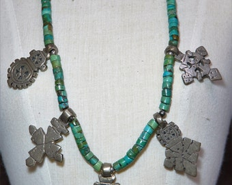 Turquoise and vintage crosses necklace.