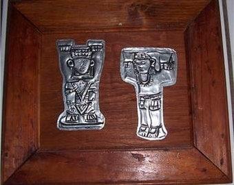 1950's Hand Made Silver Aluminum Metal Repujado Native Art on Wood Frame -Merida Yucatan Mexico Latino