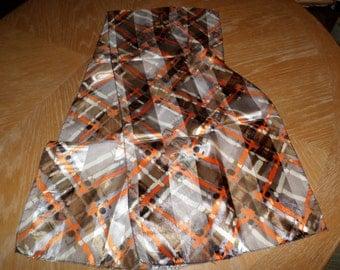 "Vintage Multi Colored  Brown Orange Silver Scarf 56"" x 13"""