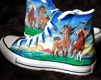 Custom handpainted  sneakers Spirit Stallion of the Cimarron Fanart Shoes, personalized shoes