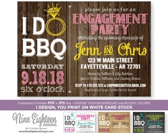 I Do BBQ Engagement Party INVITATION. Customized Printable PDF printable invitations.