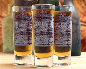 Personalized Shot Glasses, Set of 3, Groomsmen Gifts