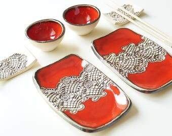 Sushi Serving Set, Set for Two, Red Sushi Set, Ceramic Sushi Dishes, Ceramic Tableware, Serving Sushi, Sushi Plate, Ceramics and Pottery