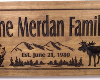 Wood Carved Cabin Sign wooden wall art Alaskan theme signs with Bear Mountains Moose Big Dipper and pine trees benchmark signs and gifts