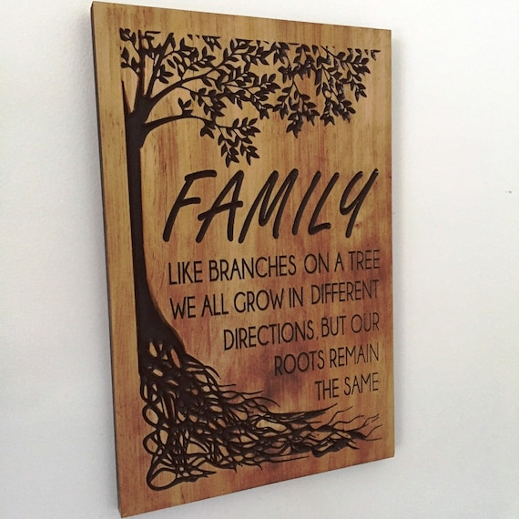 Wooden Wall Art Carved Family Tree Sign Fathers Day Gift Ideas