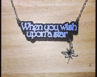 Pinocchio Inspired When You Wish Upon A Star Acrylic Necklace