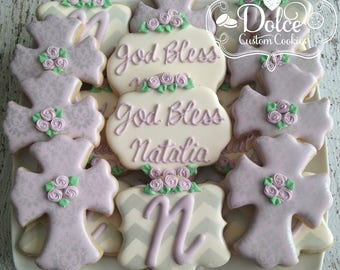 Baptism Pink and Gold Baptism Christening Baby Blessing Communion Confirmation Cookies