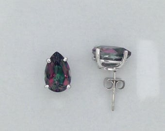 Natural Mystic Topaz Stud Earrings Solid 14kt White Gold