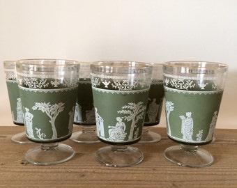 Vintage Set of 7 Jeannette Glass Hellenic Wine Glasses/Goblets