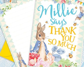 Personalised PETER RABBIT Thank You Cards Birthday Gift