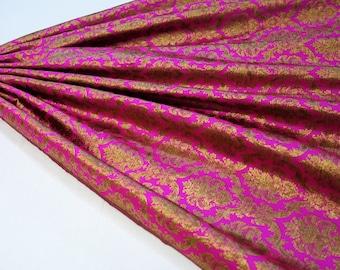 Hot pink art silk vintage gold brocade fabric