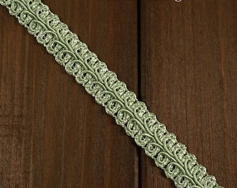 Vintage Chinese Braided Gimp Trim,  1/2 inch by 3-Yards, Forest Green, Sage Green, Rosy Mauve, Yellow, BADE-60197