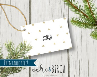 "PRINTABLE 3x2 Christmas Gift Tags - ""Season's Greetings!"" 
