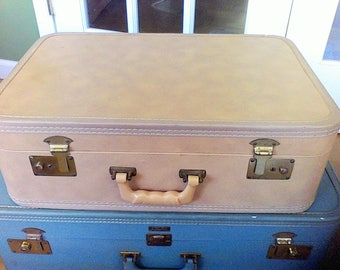 Vintage Suitcase, light brown  1950's old luggage, stacking case, display case