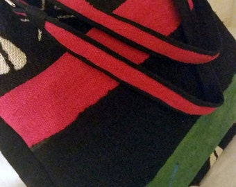 Red, Black, and Green Mud Cloth Tote, Afro Urban Tote