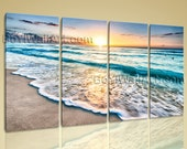 Extra Large High Quality Giclee Prints Canvas Contemporary Landscape Beach Ocean, Oversized Seascape Wall Art, Living Room, Jungle Mist