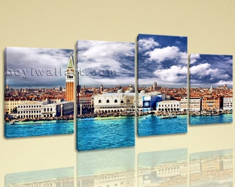 Large Venezia Italy Cityscape On Canvas Wall Art Print Living Room Four Panels, Large Venice Wall Art, Living Room, Ghost