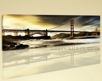 Large Landscape Painting Contemporary Landmarks Wall Decor One Panel Art Print, Large Landmarks Wall Art, Living Room, Soya Bean
