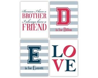 Personalized brothers room art | twin boys nursery decor | blue, navy, red nursery | twins nursery | brother quotes because I have a brother