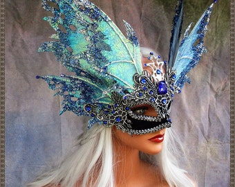 Fairy Wings Mask**Iridescent Blue/Silver**FREE SHIPPING**Costume/Masquerade/Weddings