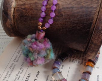 Multi-Colored Agate and Pom Pom Necklace