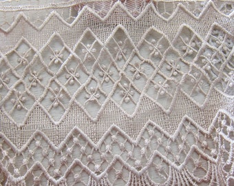 "1 Yard- Khaki Wide Lace/NBDL42-7""Inches Wide Lace/ Embroidered Lace/"