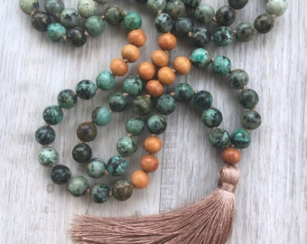Evolve ~ African Turquoise Mala ~ 108 bead, hand knotted, tassel necklace, meditation beads, Chakra, Yoga, Long Necklace