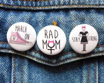 Rad Mom pin, Mother's Day, Cool Mom Protest Button