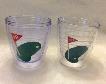 Vintage double insulated acrylic golf tumbler glasses. Hong Kong free ship to US.