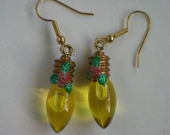Miniature Christmas Tree Light Bulb Dangle Earrings - 5013