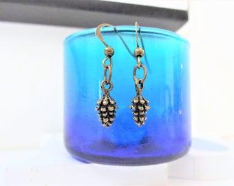 TINY 3D PINE CONE earrings - bronze pinecone lightweight earrings - pinecone earrings