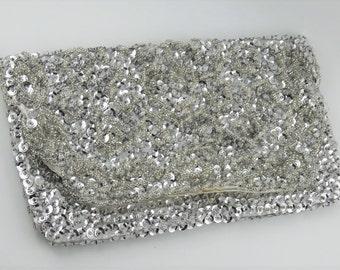Handmade Vintage Clutch Purse Italian Beads Silver Marked Bonsoir