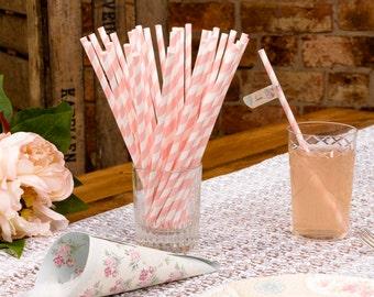 Wedding favors. Pink Retro paper straws. Paper drinking straws .