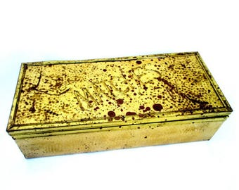 Vtg Large Brass Match Box | Hearthside Matchstick Case | Cedar Lined