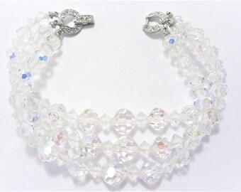Vintage Triple Strand Crystal Bracelet Rhinestone Clasp 50s