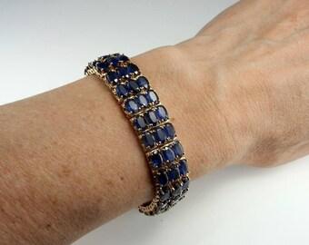 Dark Blue Sapphire Bracelet Tennis Bracelet 14K Gold Bracelet Natural Sapphire Bangle Wide Bracelet Sapphire Jewelry Estate Jewelry Fine