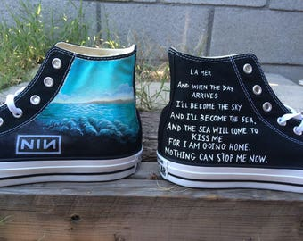 Custom Nine Inch Nails (NIN)/ ocean theme art work on Converse with lyrics.