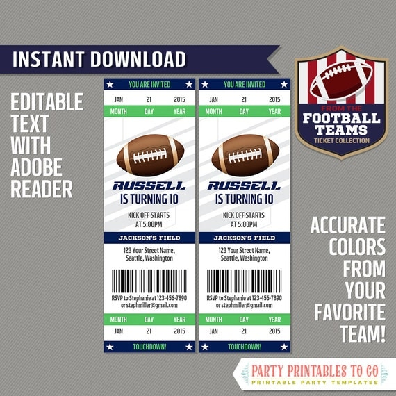 football ticket invitation template navy and green instant