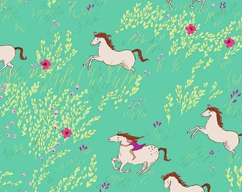 Horse fabric FLANNEL - Michael Miller Summer Ride in cotton flannel