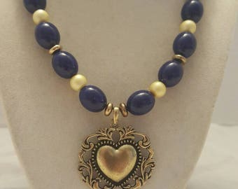 Navy Blue and Yellow Heart Necklace Yellow and Navy Blue Heart Necklace Heart Necklace Navy Blue and Yellow Necklace Yellow and Navy Blue