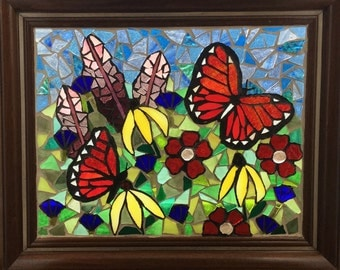 Stained Glass Monarch Butterfly Panel -  Orange Butterfly Stained Glass Mosaic - Butterfly Garden - Monarch Flower Garden Mosaic