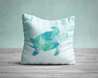 Sea Turtle Pillow Case, Nautical Home Decor, Beach Art, Nursery Art, Sea Turtle Pillow Cover, Watercolor Turtle Cushion, Coastal Decor