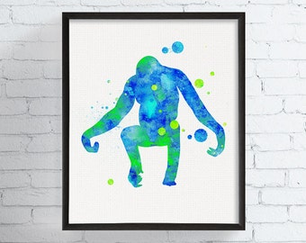 Orangutan Art Print, Watercolor Orangutan, Orangutan Painting, Nursery Wall Decor, Kids Room Decor, Childrens Room Decor, Boys Room Decor